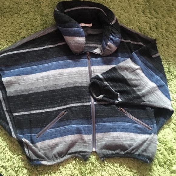 Jackets & Blazers - Blue & black strips jacket w/ puffy neck details